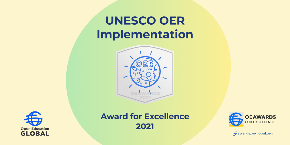 UNESCO OER Implementation Award for Excellence 2021 Badge